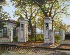 antiguas rejas de san isidro Village Photography, Art Photography, Fachada Colonial, Portal, Pastel Artwork, Country Art, Old Houses, Wrought Iron Fences, Paint Colors