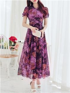 Ericdress offering cheap maxi dresses is worth your visit. Good quality maxi dresses for women on sale here, such as white floral long maxi dresses with sleeves. Maxi skirts are also good. Cheap Dresses Online, Cheap Maxi Dresses, Maxi Dress With Sleeves, Short Sleeve Dresses, White Dresses For Women, Mid Length Dresses, Latest Dress, Fashion Dresses, Modest Fashion
