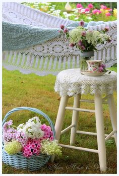 Sweet Country Life ~ Simple Pleasures ~ Summer days- book and hammock, phlox and hydrangeas....