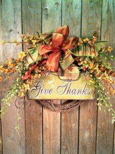 Thanksgiving Wreath for Front Door  via Etsy.