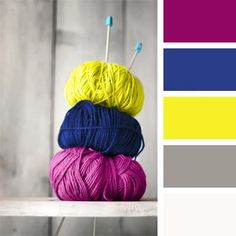 Contrast combinations of saturated yellow, blue and aubergine colors are complemented by gray and white colors. Such color composition suites well premises Colour Pallette, Colour Schemes, Color Patterns, Neon Colors Palette, Purple Color Palettes, Color Combinations Home, Color Combos, Yarn Colors, Colours