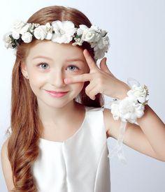 2 pc/set Mode putih kepala bunga karangan bunga pengantin pergelangan bunga korsase bunga gadis aksesoris rambut mahkota Bunga dan pergelangan tangan