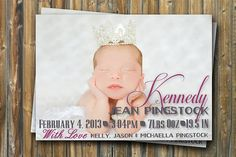 Baby Girl Birth Announcement Baby Greeting Pink by TheLudwigShop, $12.99