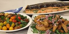 Roast Salmon Fillets with Salsa Verde, Potato and Rocket Salad and Heirloom Tomato Salad. Recipes from Lifestyle Food TV show, Lyndey's Cracking Christmas.