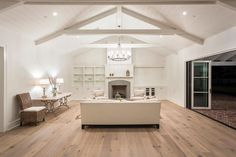Contemporary Living Room with Ted Todd French Oak Floors - Bachet, Cement fireplace, French doors, Consuelo Chandelier French Oak, French Doors, Paint Colors For Home, White Walls, Great Rooms, Family Room, Home Improvement, Contemporary, Interior Design