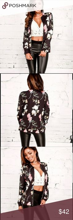 Black Floral Bomber Jacket Black Floral Bomber Jacket.  This jacket features a smooth material design, zipper, round collar, and floral print.  Comes in sizes Small through XXL.  Stretchy spandex-like material.  ⭐No Trades ⭐No Holds  ⭐Bundle with other items to receive 20% discount *Fulfilled by www.theposhpanda.com The Posh Panda Jackets & Coats