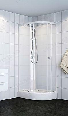 VikingBad dusjk buet 80x90x190 V Hvite profiler, frostet gl. Bad, Bathtub