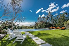 The home is located in Skinners Shoot, which shares the same postal code as Byron Bay and is less than 2 miles southwest of Byron Bay's town center. The land the home sits on has seven dams, and several varieties of palm and fruit trees, including mango, jackfruit and banana.