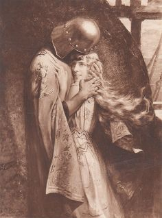 Tristan e Isolda, Gaston Bussiere photo by Paris France, Middle Ages History, Medieval, Myths & Monsters, Romantic Paintings, Knight In Shining Armor, European Paintings, Pre Raphaelite, Gaston