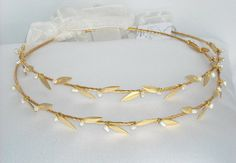 Gold Design Stefana with Leaves and Pearls for your wedding day.