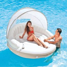 Pool Mattress Float Floating Island Raft Inflatable Canopy 2 Person Lake Lounger