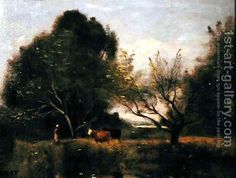 Landscape with Cattle Jean-Baptiste-Camille Corot | Oil Painting Reproduction | 1st-Art-Gallery.com