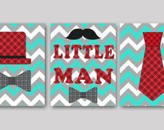 Little man Baby Boy Nursery art print Childrens Wall Art Baby Room Decor Kids Art Kids Print set of 3 11 x 14 Little man red aqua gray