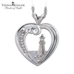 Thomas Kinkade Beacon Of Hope Lighthouse Pendant Necklace