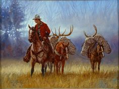 """""""A Good Hunt"""", by American artist - Jim Daly (1940- ), Oil on Canvas, 12"""" x 9"""", SOLD."""