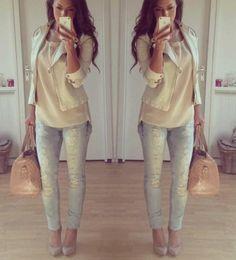 Faded & shredded skinny jeans + neutral top + cream/ neutral blazer + nude heels
