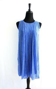Anthropologie Blue & White Pleated Dress - $69 #threadflip #anthropologie #springdress