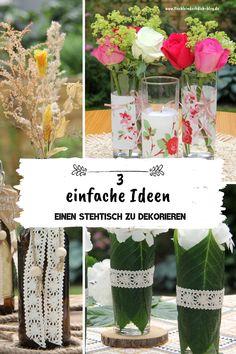 Stehtisch dekorieren einfach gemacht, vergiss die schnöde unifarbene Papierserviette! Auf dem Blog findest Du Dekoideen für Dein Sommerfest, Dein Gartenfest oder Deine Geburtstagsfeier, die Deine Stehtische oder deine Bierzeltgarnituren optisch nach vorne bringen, kleine Tipps und Tricks inclusive. #tischleindeckdichblog #sommerfest #sommerparty #geburtstagfeiern #sommerdeko Tricks, Glass Vase, German, Blog, Crafty, Table Decorations, Home Decor, Simple, Hello Summer