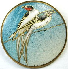 Vintage Satsuma Button Lg Size Two Birds of Japan on Thin Branch Stunning