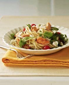 Cool Mom Eats weekly meal plan: Warm Salmon Arugula Pasta Salad at Tara Teaspoon