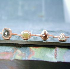 Triangle Diamond Engagement Ring 14kt Rose Gold by JewelLUXE