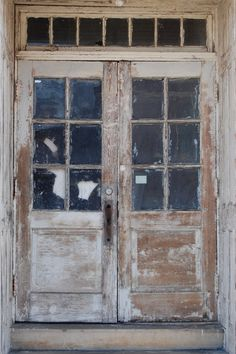 Old double French doors (6 lites each), with hinges on the exterior, they must open outward; it is uncertain whether there is a central mullion, ...