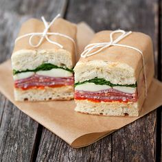 Picnic sandwich wrapped in wax and twine