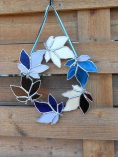 Stained Glass Wreath-Leaves-Blue-Brown-Cream- Suncatcher via Etsy