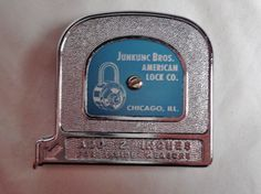 Excited to share the latest addition to my #etsy shop: NIB! Vintage Advertising Tape Measure Junkunc Bros. American Lock Company, Padlock Company, Enamel over Metal, Padlock Lock Memorabilia http://etsy.me/2zVUEwz #vintage #collectibles #silver #christmas #bronze #tape