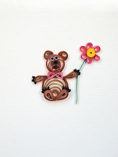 Handmade Sorry Greeting Card  paper quilling teddy by szalonaisa, $7.50