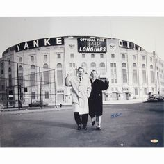 Yogi Berra Signed BW Standing Outside Original Yankee Stadium With Whitey Ford 16x20 Photo
