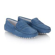Tods Cornflour Blue Suede Moccasins