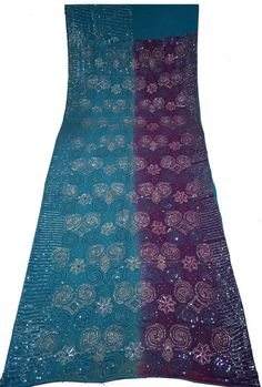 Georgette Saree Sarong Dress Wrap Sequence With Thread & Beaded Work Women Wrap Decorative Fabric Recycle Curtain Drape 5YD Sari-ASS811