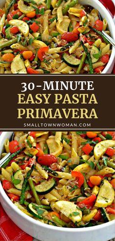 Vegetable Pasta Recipes, Penne Pasta Recipes, Pasta Dinners, Vegetarian Recipes, Healthy Recipes, Easy Recipes, Pasta Primavera, Summer Dishes, Homemade Pasta