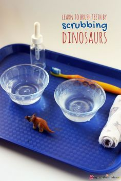 Dinosaur scrubbing - a great way to teach children how to brush their teeth while having fun. A great self-care activity that fits perfectly into a child's love of dinosaurs, or a dinosaur unit study