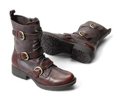 A trio of buckled straps fasten this durable tanker-style boot. Offered in dark hues of grey or dark brown.  The Born Marxia