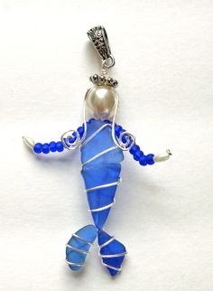 Sea Glass Mermaid Pendant Cobalt Blue and by oceansbounty on Etsy, $20.00