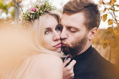 by Studio Obrazkowe / #romantic #emotions #forest #love #weddingsession #couple #groom #bride #wedding #bohobride #fall #newlyweds #poland #floralcrown