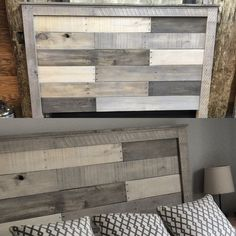 pallet headboard with washes of country chic rocky mountain, pebble beach, and lazy linen.queen pallet headboard with washes of country chic rocky mountain, pebble beach, and lazy linen. Queen Pallet Headboards, Headboards For Beds, Headboard Ideas, Queen Headboard, Diy Pallet Headboard, Headboard Door, Padded Headboards, Country Headboard, Reclaimed Wood Headboard