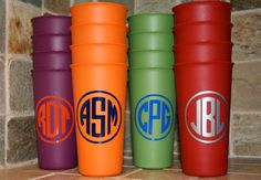 monogrammed cups, set of 4 tumblers