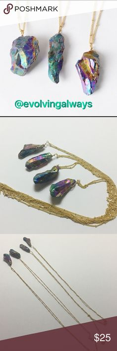 Gorgeous Natural Stone Pendants Beautiful natural stone pendants with long gold tone chains. The chain is approximately 30 inches long. The actual stones are approximately 1 and a half inches long. Four available for sale. The price is for one necklace. EvolvingAlways Jewelry Necklaces