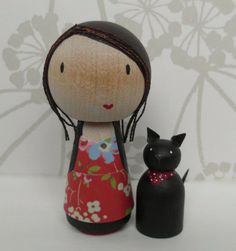 Personalised 'Mini Me' doll with persoanlised pet cake topper - hand painted wooden doll