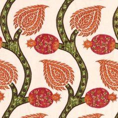Schumacher Nurata Embroidery Coral Fabric