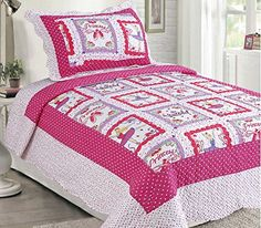 Kids' Quilts - LuxuryDiscounts 2 Piece Pink Polka Dot Ballerina Princess Kids Quilt Bedspread Coverlet Set Twin QS31 * See this great product.