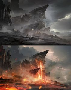 good contrast on what the mist can hide and what the bright light of the lava can show.