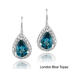 Glitzy Rocks Silver 3ct TGW London Blue Topaz and Diamond Earrings | Overstock.com Shopping - Top Rated Glitzy Rocks Gemstone Earrings