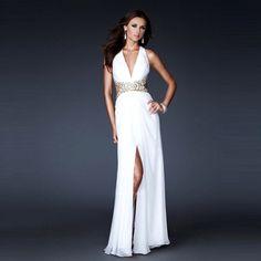 2015 Charming Chiffon V-Neck Cross Back Long Gown with Side Slit Detail Celebrity Dress Prom Dress Vestidos De Festa Longo