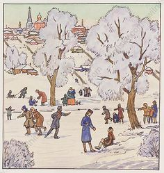 Lovely watercolor by Lev Michailovich Khailov, who was a very well-known Russian graphic artist and illustrator of the century. During his career he made illustrations for more than 300 books. His works can be seen in many museums in Russia and worldwide. Russian Art, Book Illustration, Ice Skating, Winter Christmas, Seasonal Decor, Museums, Illustrator, Moose Art, Original Art