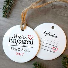 """We're Engaged – Personalized Christmas Ornament Getting engaged is a big deal and we have the perfect gift to help celebrate. Personalize the heartwarming """"We're Engaged"""" Christmas Ornament to celebrate one of life's great moments! This keepsake is made just for you and designed to last a lifetime like your love for one another. All you have to do is add your names and engagement date and we'll do the rest."""