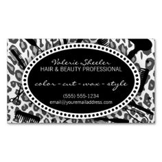 Snow Leopard Print Hair & Beauty Appointment Card Business Card Templates